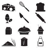 Grupo do ícone do utensílio e do alimento Imagens de Stock