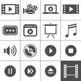 Grupo do ícone do vídeo e do cinema ilustração stock