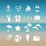 Grupo do ícone do verão Fotografia de Stock