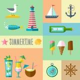 Grupo do ícone do verão Imagens de Stock