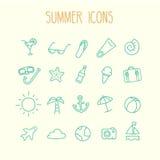 Grupo do ícone do verão Fotografia de Stock Royalty Free