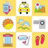 Grupo do ícone do verão Tendência lisa do projeto Ilustração do vetor Imagem de Stock