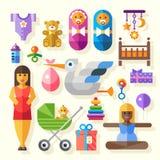 Grupo do ícone do vetor da cor e nascimento lisos das ilustrações do bebê Imagens de Stock Royalty Free