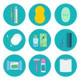 Grupo do ícone do vetor da higiene pessoal ilustração stock