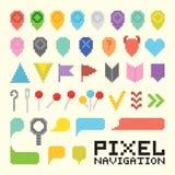 Grupo do ícone do vetor da navegação da arte do pixel Fotos de Stock Royalty Free
