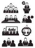 Grupo do ícone do vetor da reunião de negócios Imagem de Stock Royalty Free
