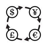 Grupo do ícone do vetor da troca de moeda da finança yuan Fotografia de Stock Royalty Free