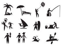 Grupo do ícone do vetor das atividades do verão ilustração stock