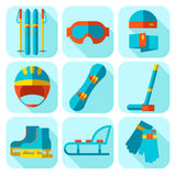 Grupo do ícone do vetor de esporte de inverno Projeto liso Fotos de Stock Royalty Free