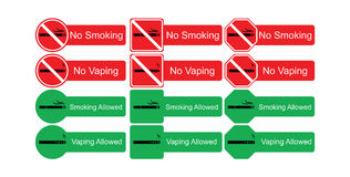 Grupo do ícone do vetor de não fumadores e de fumo permitidos Imagem de Stock