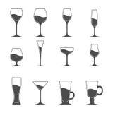 Grupo do ícone do vetor de utensílio Cerveja martini do vinho Imagens de Stock