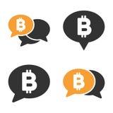 Grupo do ícone do vetor do bate-papo de Bitcoin Fotografia de Stock