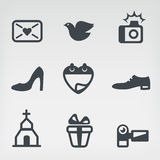 Grupo do ícone do vetor do casamento Imagem de Stock Royalty Free