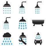 Grupo do ícone do vetor do chuveiro e do banho foto de stock