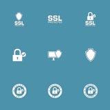 Grupo do ícone do vetor do Internet da Web da proteção Fotografia de Stock Royalty Free