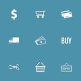 Grupo do ícone do vetor do sinal da compra Fotografia de Stock