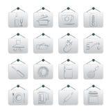 Objetos da cozinha e ícones dos acessórios Fotografia de Stock Royalty Free