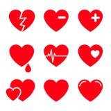 Grupo do ícone do vetor dos corações Imagens de Stock