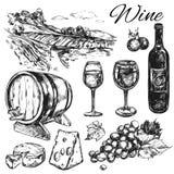Grupo do ícone do vinhedo do vinho ilustração stock