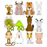 Grupo do ícone do zodíaco de 12 chineses Imagens de Stock Royalty Free