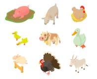 Grupo do ícone dos animais domésticos, estilo dos desenhos animados Fotos de Stock Royalty Free