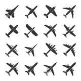 Grupo do ícone dos aviões ilustração stock