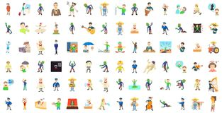 Grupo do ícone dos caráteres dos homens, estilo dos desenhos animados ilustração do vetor