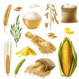 Grupo do ícone dos cereais ilustração stock