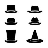 Grupo do ícone dos chapéus Ilustração do Vetor