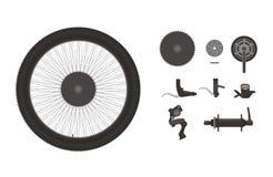Grupo do ícone dos componentes da bicicleta Imagem de Stock