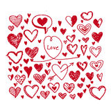 Grupo do ícone dos corações Ilustração desenhada mão Fotografia de Stock