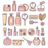Grupo do ícone dos cosméticos ilustração stock