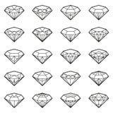 Grupo do ícone dos diamantes, Imagem de Stock