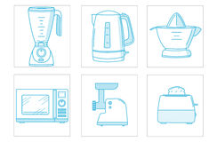 Grupo do ícone dos dispositivos de cozinha Imagens de Stock Royalty Free