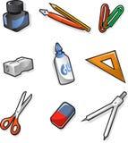 Grupo do ícone dos elementos da escola Imagem de Stock Royalty Free