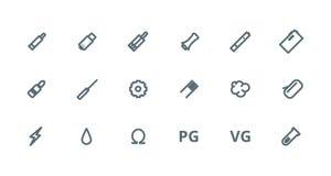 Grupo do ícone dos esboços de Vaping Imagens de Stock Royalty Free