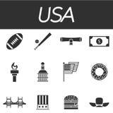 Grupo do ícone dos EUA Imagem de Stock Royalty Free
