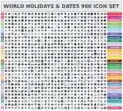 Grupo do ícone dos feriados e das datas 960 do mundo Imagens de Stock