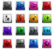 Grupo do ícone dos globos ilustração stock