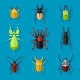 Grupo do ícone dos insetos, ilustração do vetor Foto de Stock
