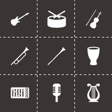 Grupo do ícone dos instrumentos de música do vetor Fotografia de Stock Royalty Free