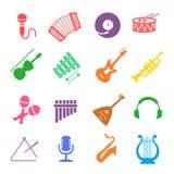Grupo do ícone dos instrumentos musicais Imagem de Stock