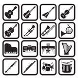 Grupo do ícone dos instrumentos musicais Foto de Stock
