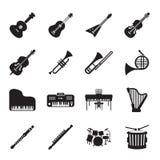 Grupo do ícone dos instrumentos musicais Imagem de Stock Royalty Free