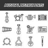 Grupo do ícone dos instrumentos musicais ilustração stock