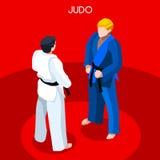 Grupo do ícone dos jogos do verão do judô atleta 3D isométrico Campeonato ostentando Art Competition marcial internacional Fotografia de Stock