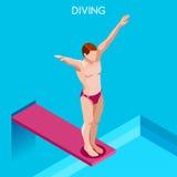 Grupo do ícone dos jogos do verão do mergulho mergulhador 3D isométrico Raça ostentando de mergulho da competição Imagens de Stock Royalty Free