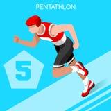Grupo do ícone dos jogos do verão do pentatlo 3D atleta isométrico Pentathlete Cerco running do tiro da natação do pentatlo moder Imagens de Stock Royalty Free