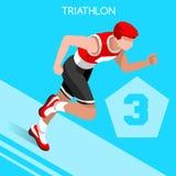 Grupo do ícone dos jogos do verão do Triathlon Atleta isométrico Triathlete dos Olympics 3D Ciclismo running da estrada da nataçã Imagem de Stock Royalty Free