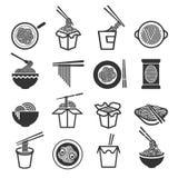 Grupo do ícone dos macarronetes imediatos ilustração stock